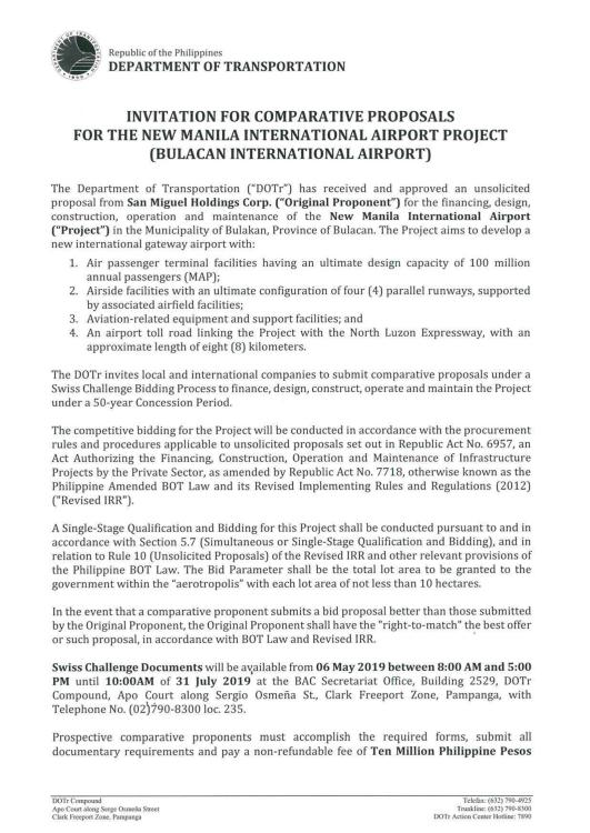 Invitation To Submit Comparative proposal